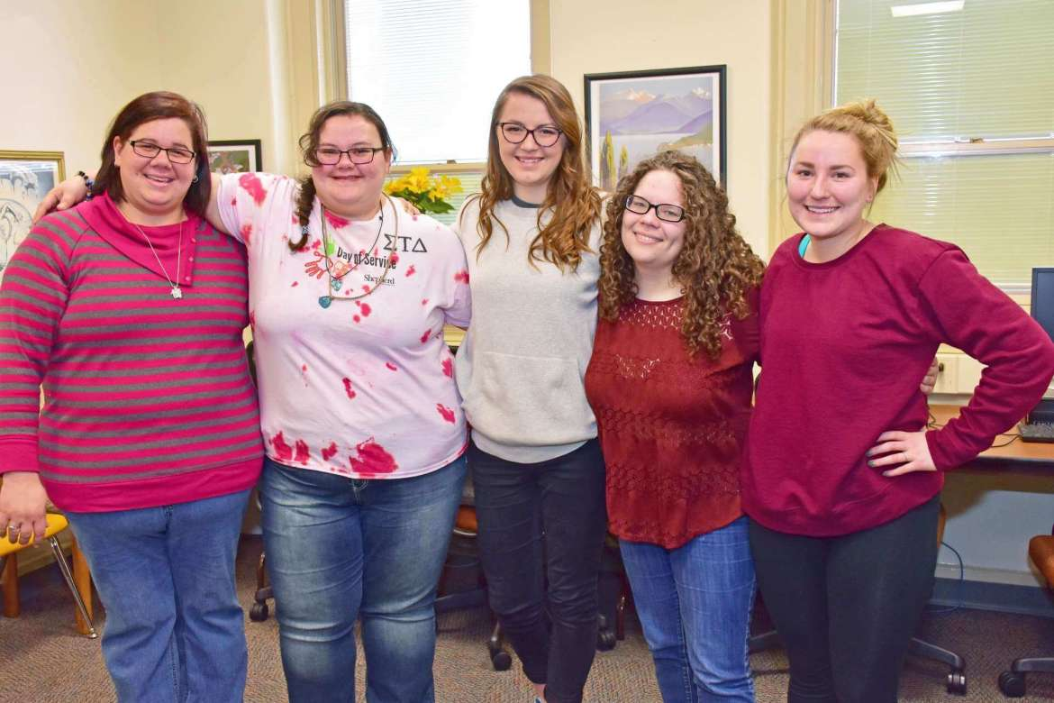 Members of the Shepherd chapter of Sigma Tau Delta who are planning a March 9 poetry night are (l.-r.) Charlene Reckner, Martinsburg; Gabrielle Hersey, Delray; Brianna Maguire, Paw Paw; Claudia McCarron, Charles Town; and Jessica Friend, Smithsburg, Maryland.
