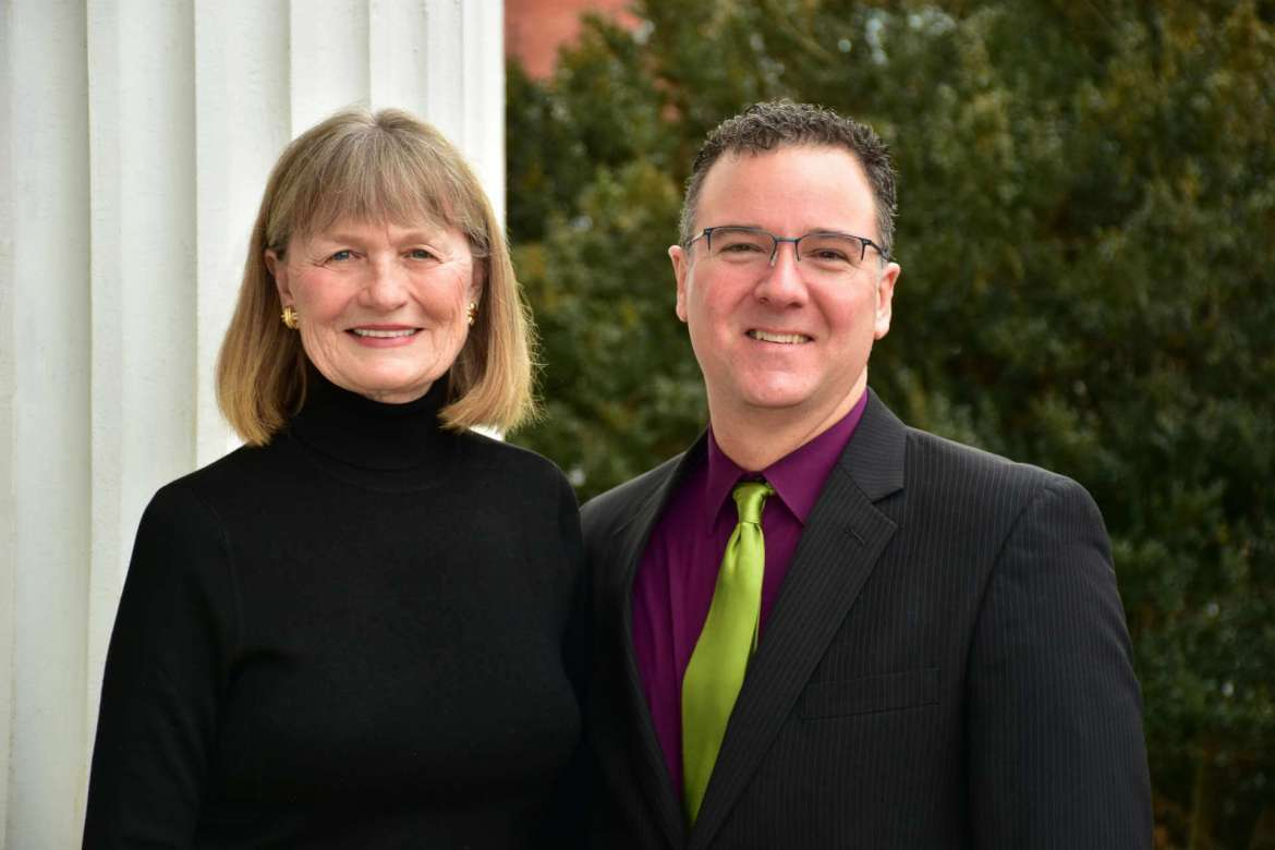Pictured (l. to r.) are Marellen Johnson Aherne and Robert Tudor, chair of Shepherd University's Department of Music.