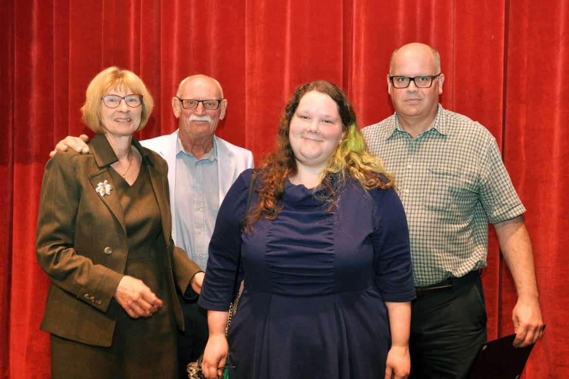 From left: Susan Mentzer-Blair and her husband, Bill, pose with Allexandra Benedict and Dr. Timothy Nixon at Shepherd's 2017 Student Recognition Day ceremony where Dr. Nixon became the first recipient of the Mentzer Award for Inspirational Teaching. Benedict, an English major from Martinsburg, nominated him for the award.