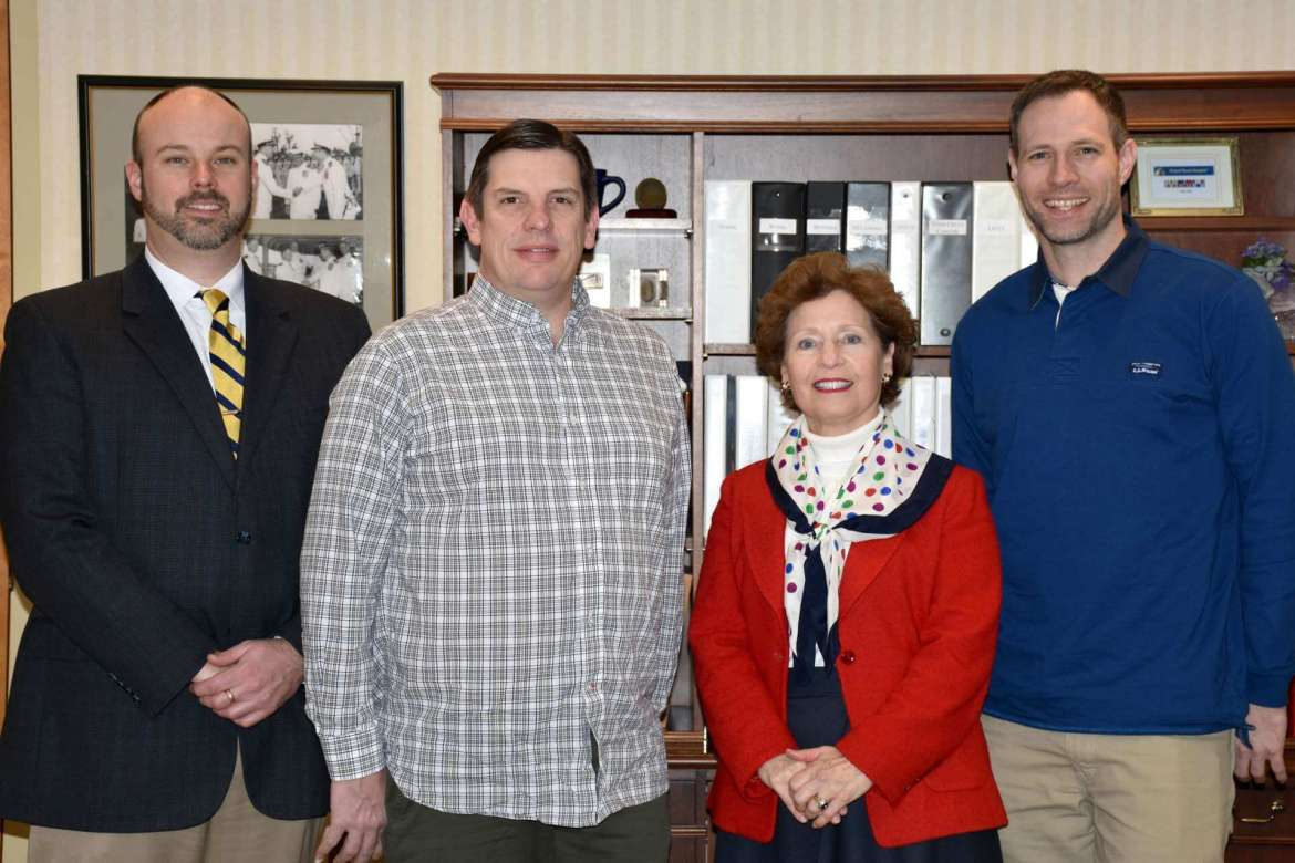 Shepherd University and Montgomery College have signed a 2+2 transfer agreement that will allow Montgomery students in environmental science, broadcast media production, and international studies to seamlessly transfer to Shepherd. Pictured (l. to r.) are Dr. Dr. Joseph Robbins, chair of the Department of Political Science and Global Studies; Dr. Jason McKahan, chair of the Department of Mass Communications; Dr. Mary J.C. Hendrix, Shepherd president; and Dr. Jeffrey Groff, chair of the Institute of Environmental and Physical Sciences.