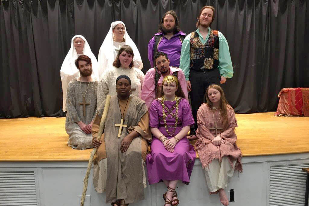 """Performing in """"Thais"""" are front row, (l. to r.) Lyvon Campbell, M.B.A. student, Martinsburg; Ashley Hall, alumna, Shepherdstown; Bethany Kaetzel, English major, Hedgesville. Second row, Zack Bishop, community member, Shepherdstown; Haley Weatherholtz, chemistry major, Charles Town; Adam Wilson, community member, Shepherdstown. Third row, Tiffany Kline, English major, Smithsburg, Maryland; Gabrielle Hess, English major, Martinsburg; Dylan Meushaw, alumnus and current Shepherd employee, Shepherdstown; and Austin Fitzgerald, secondary education, Berkeley Springs."""