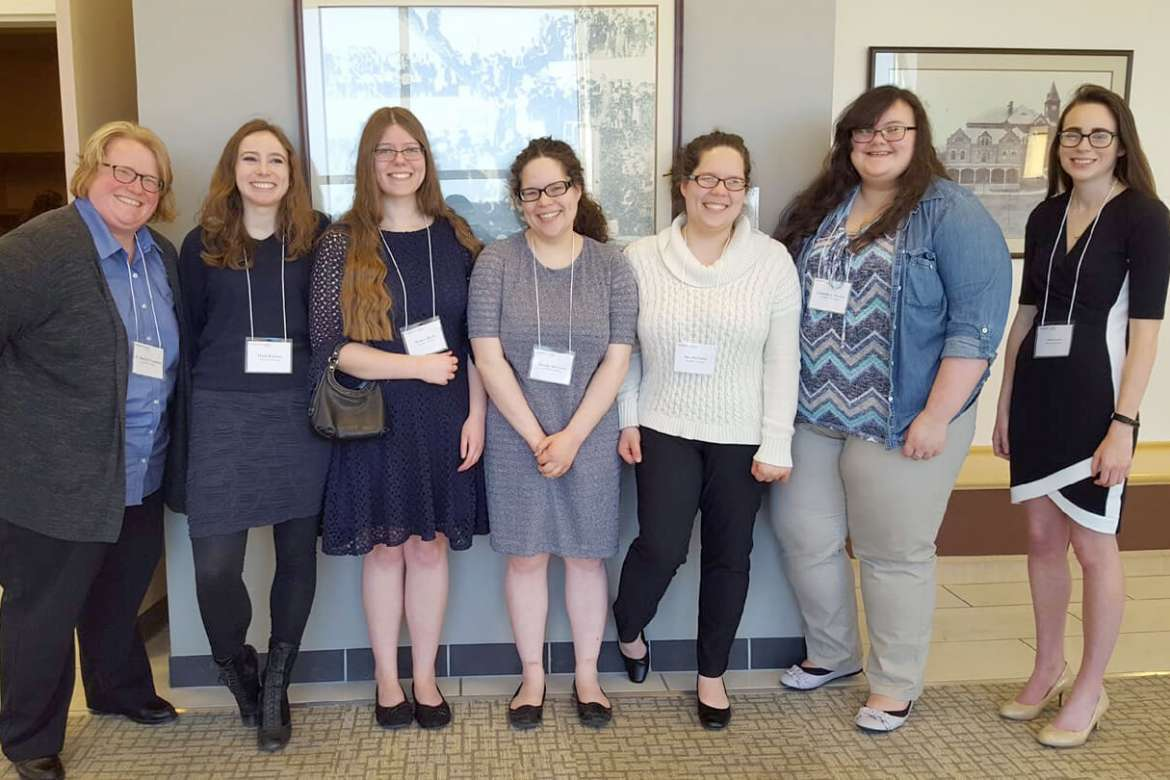 Six Shepherd students presented their work at the West Virginia Undergraduate Literary Symposium at Fairmont State University on Saturday, March 3. Pictured (l. to r.) are Dr. Heidi Hanrahan, associate professor of English; Heidi Reichert, a mathematics major from Kearneysville; MaKarie Myers, an undeclared major from Martinsburg; Claudia McCarron, an English major from Charles Town; Alexandra McCarron, a secondary education major from Charles Town; Gabrielle Hersey, an English major from Delray; and Lilli Sutton, an English major from Boonsboro, Maryland.