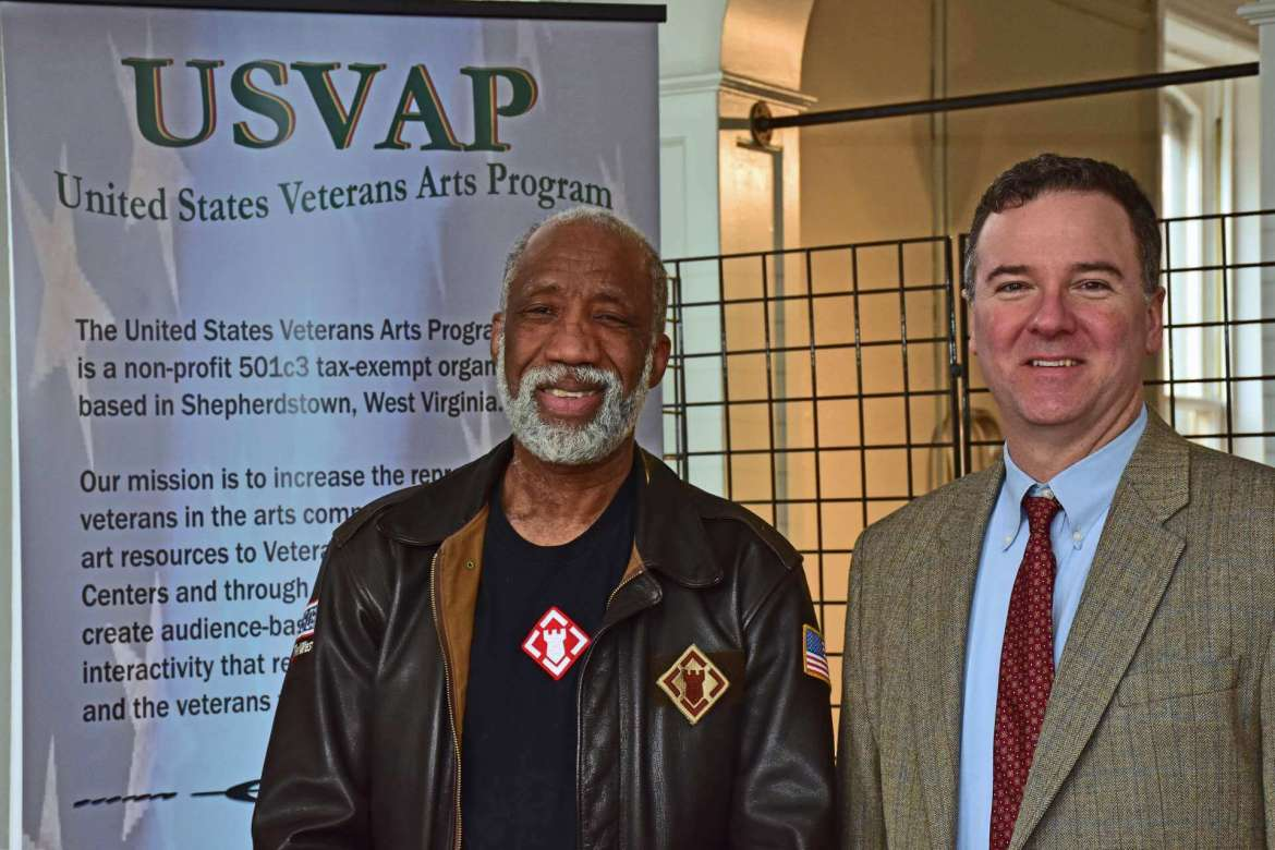 Pictured (l. to r.) are James Kimo Williams, composer, Vietnam Veteran, and founder of the United States Veterans Arts Program, and Dr. Rob Tudor, chair of Shepherd's Department of Music.