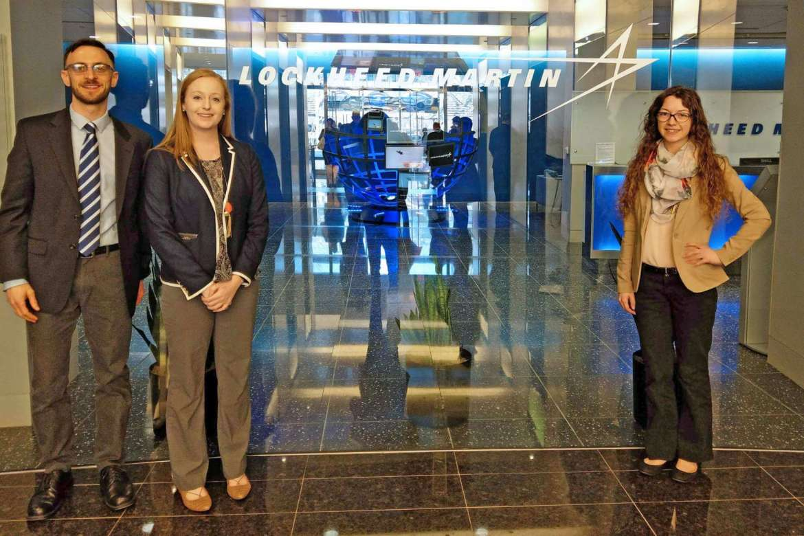 During a spring break trip organized by the National Millennial Community, Dr. Matthew J. Kushin, associate professor of mass communications, and communication and new media majors Sarah Burke, Hedgesville, and Ellen Buchanan, Myersville, Maryland, visited executives from a variety of companies in Philadelphia and Washington, D.C., including Lockheed Martin. Pictured (l. to r.) are Kushin, Buchanan, and Burke.