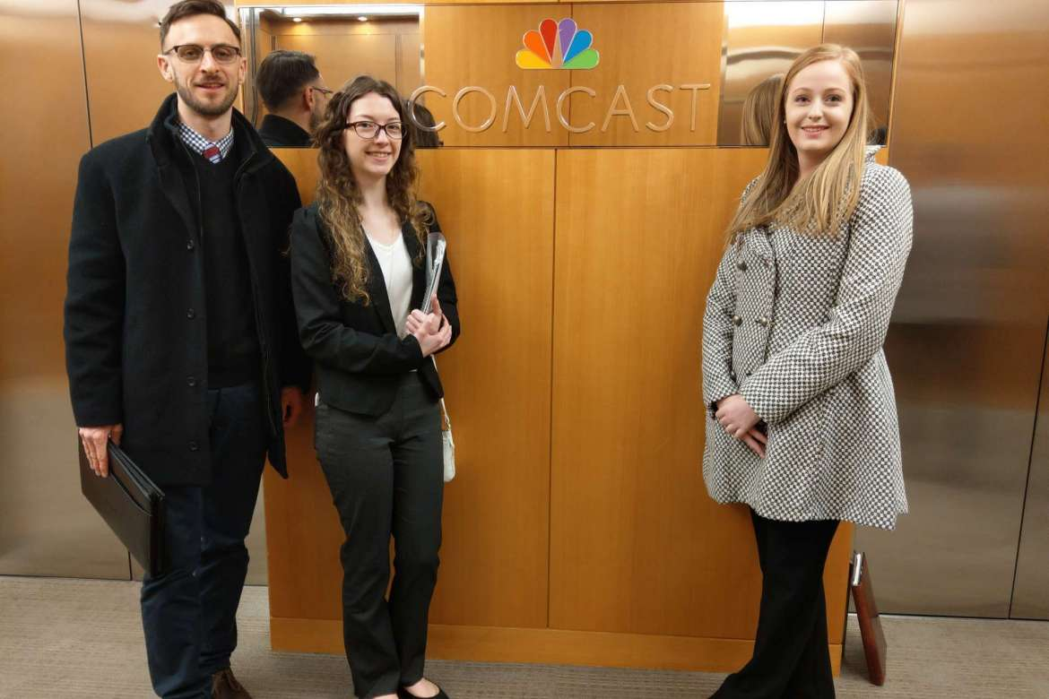 Pictured (l. to. r.) are Dr. Matthew J. Kushin, associate professor of mass communications, Sarah Burke, Hedgesville, and Ellen Buchanan, Myersville, Maryland, during a visit to Comcast NBCUniversal during a trip organized by the National Millennial Community.