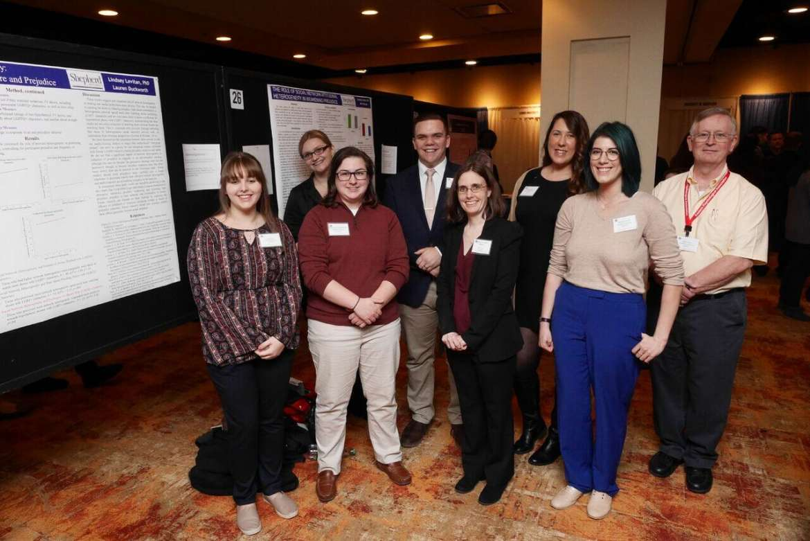 Seven Shepherd psychology students and two faculty members presented at the annual meeting of the Eastern Psychological Association in Philadelphia March 1-3. Pictured (l. to r.) are Kellen Healy, Silver Spring, Maryland; Caroline Shamberger, Morgantown; Dr. Lindsey Levitan, associate professor of psychology; and Rachel DiLima, Kensington, Maryland. Back row, Lauren Duckworth, Kingwood; John Michaels, Hedgesville; Aimee Streett, Inwood; and Dr. Larry Daily, associate professor of psychology.