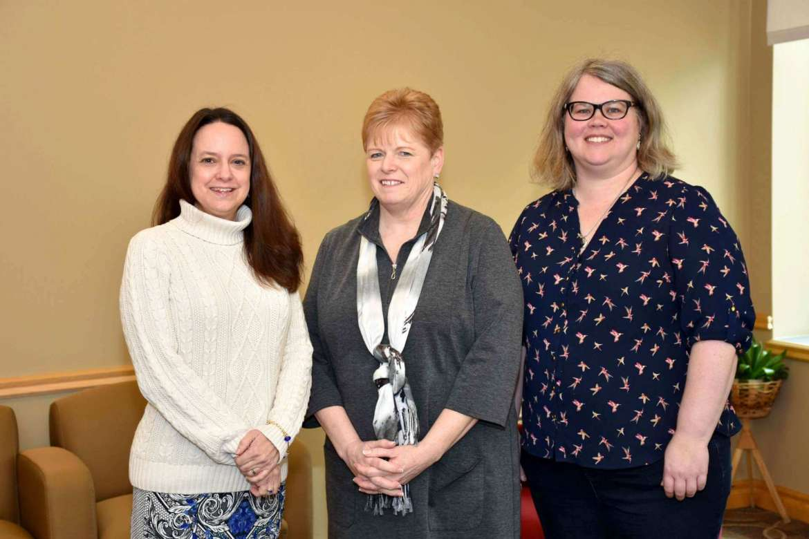 Pictured (l.-r.) are Dr. Laura Renninger, interim library dean, Nancy Cowherd, assistant to the dean, and Rachel Hally, coordinator of collections.