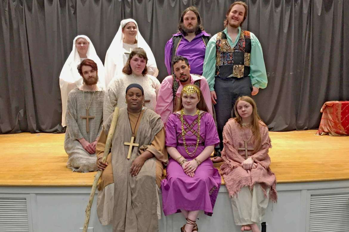 """Cast members for the Rude Mechanicals Medieval and Renaissance Players who will perform in """"Holy Harlots and Sassy Virgins: Medieval Plays by Hrothsvita"""" include, front row (l.-r.) Lyvon Campbell, Ashley Hall, and Bethany Kaetzel; second row, Zack Bishop, Haley Weatherholtz, and Adam Wilson; third row, Tiffany Kline, Gabrielle Hess, Dylan Meushaw, and Austin Fitzgerald."""