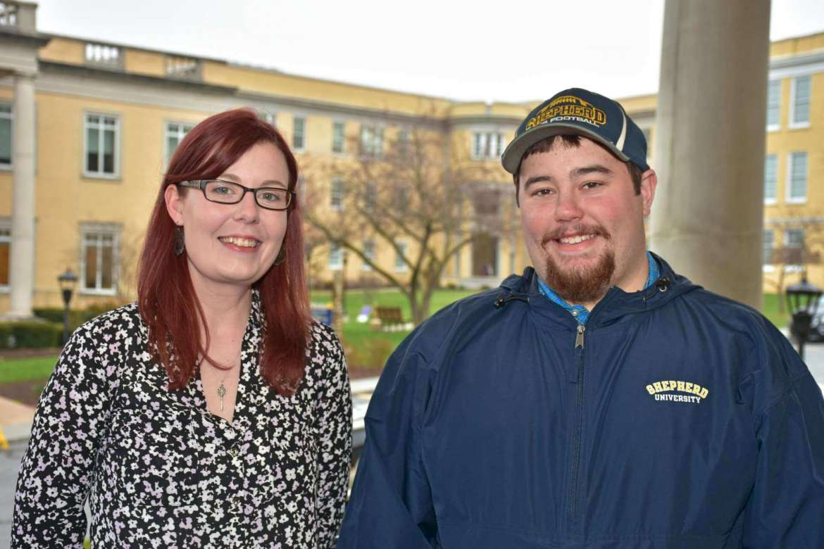 """Two students in Shepherd University's Appalachian Studies Program presented their projects and research at the 2018 Appalachian Studies Association conference April 5-8 in Cincinnati. Pictured (l. to r.) are Breanna Gladden, a communications major from Shepherdstown, who presented a paper titled """"Finding John Henry: Examining the Legend, the Ballad, and the Man,"""" and Cameron Mallow, a history major from Cabins, who presented a paper titled """"The Swamp Dragon Home Guard and the Civil War in West Virginia."""""""
