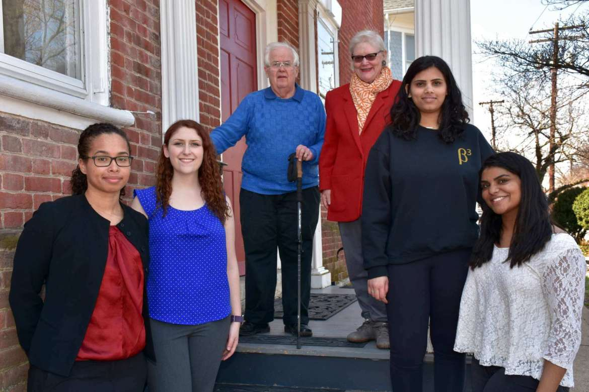 Four Shepherd students participated in the first Dinner with Strangers, a new program that connects students with members of the community. Pictured (l. to r.) are Kimberly Lukasik, Hagerstown, Maryland, a biology major; Savannah Blades, Sykesville, Maryland, a computer science, mathematics, and engineering major; David Kemnitzer and Sue Kemnitzer, dinner hosts; Keerthana Mesineni, Falling Waters, a biology major, and student representative to the Strategic Planning Committee; and Sneha Reddy, Glen Allen, Virginia, a biology major, Student Government Association president, and student representative on the Shepherd's Board of Governors.