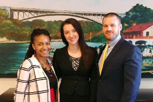 Pictured (l. to r.) are Dr. Chiquita Howard-Bostic, associate professor of sociology, Brooke Sowers, alumna, and Dr. Robert Anthony, assistant professor of sociology.
