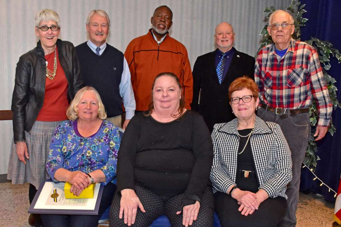 Pictured (front row, l. to r.) are Donna Utterback (facilities management staff, 25 years at Shepherd), Sandy Pounds (Student Center staff, 25 years), and Dr. Kathleen Corpus (associate professor of family and consumer sciences, 10 years); back row, Rhonda Smith (professor of art, 31 years), Monte Cater (head football coach, 31 years), Larry Dowdy (director of audio visual media services, 29 years), Dr. Jim Lewin (professor of English, 23 years), and Dr. Roland Bergman (professor of geography, 44 years). Retirees not pictured are Debra DeHaas (admissions staff, 23 years), Dr. Gordon DeMeritt (associate professor of business administration, 15 years), Samuel Jones (Student Center staff, 21 years), Dr. Linda Kinney (associate professor of economics, 24 years), and Carolyn Noll (dining services staff, 13 years).