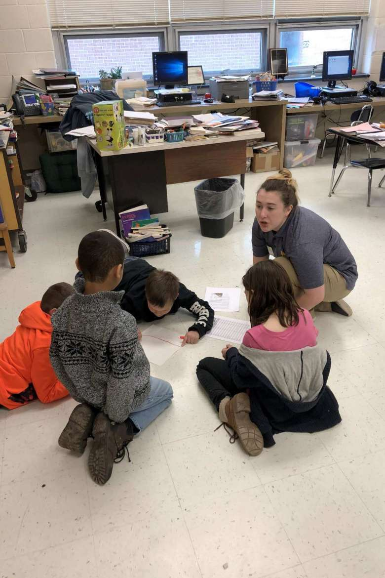 Soleil Acquista Chriest, elementary education, Hagerstown, Maryland, works with students at South Jefferson Elementary School in Jefferson County.