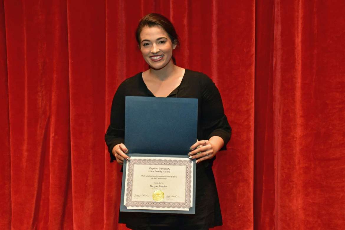 Morgan Breeden, Summit Point, received the Lowe Family Award for outstanding service during Shepherd's 70th Annual Student Recognition Day.