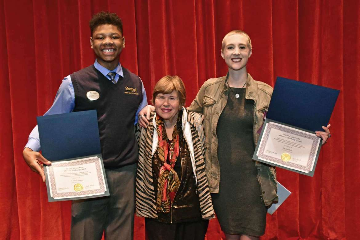 Pictured (l. to r.) are Da'Shawn Long, Dr. Jane Ikenberry-Dorrier, and Taylor Bird.