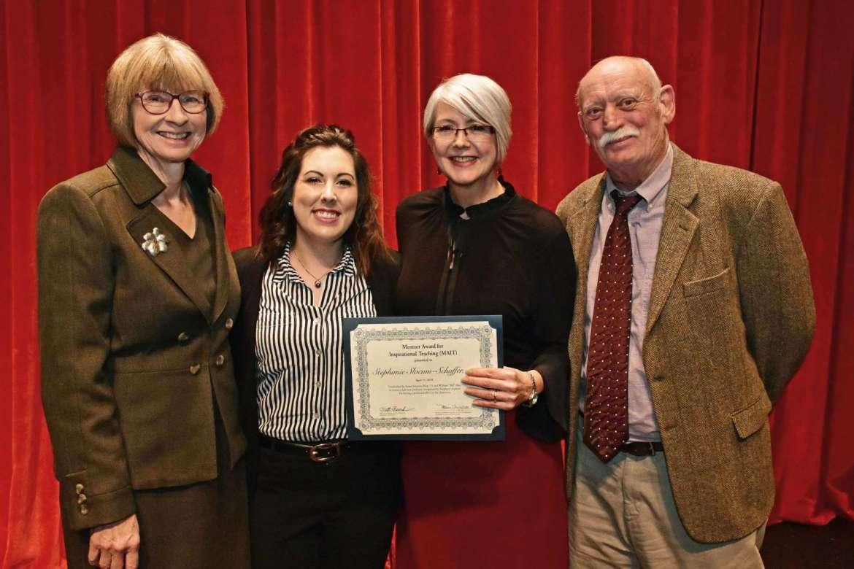 Pictured (l. to r.) are Susan Mentzer-Blair, Spencer VanHoose, Dr. Stephanie Slocum-Schaffer, and Bill Blair.