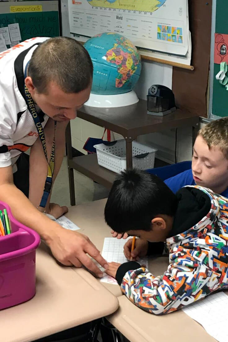 Willie Belemonte, physical education major, Charles Town, is student teaching in Ranson Elementary School in Jefferson County and is working with the SNAP-Ed curriculum.