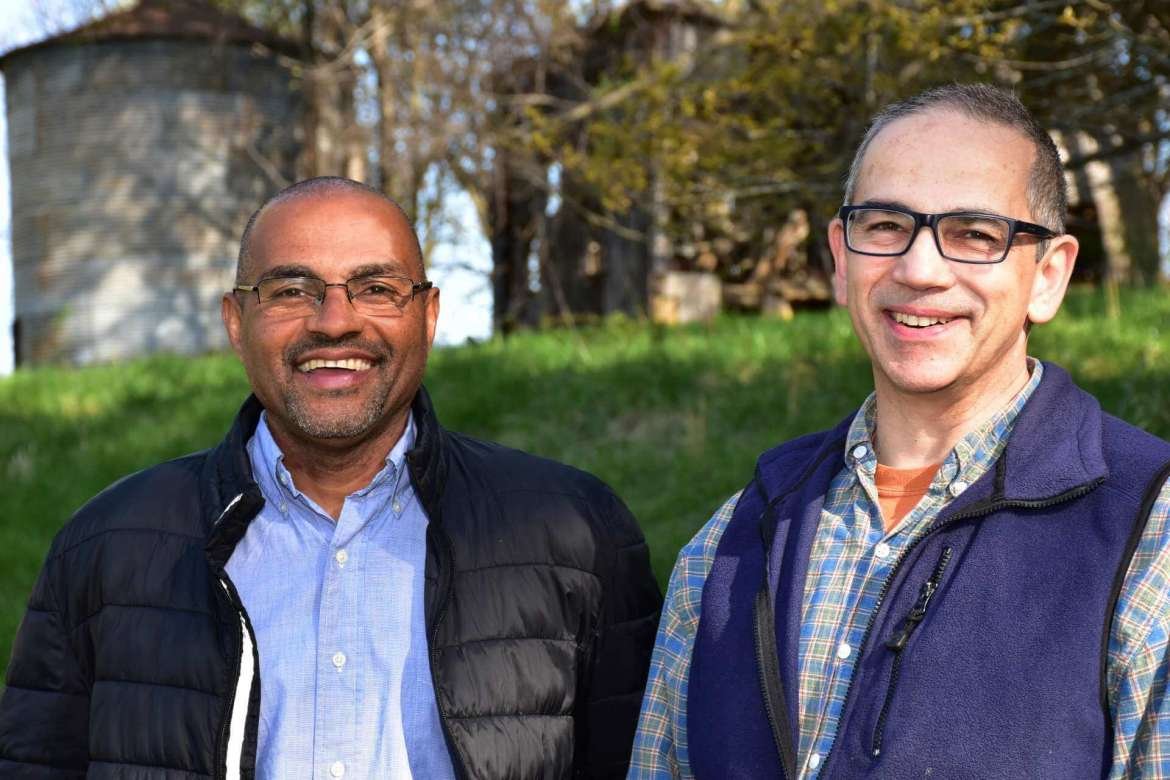 Pictured (l. to r.) are Haroun Hallack, Tabler farm manager, and Dr. Peter Vila, director of Shepherd's new veterans to agriculture program and associate professor of environmental and physical sciences.