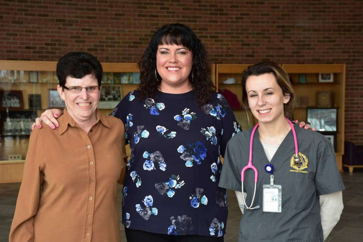 Pictured (l. to r.) are Brenda Orndorff and Allyson Orndorff Washington with Shepherd senior Ashley Jodoin of Huntingtown, Maryland, the first recipient of the Noah Jayce Washington Scholarship.