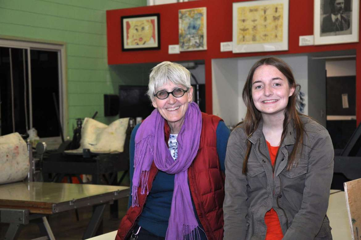 Pictured are (from left): Rhonda Smith, chair of the Department of Contemporary Art and Theater, and alumni Acadia Kandora.