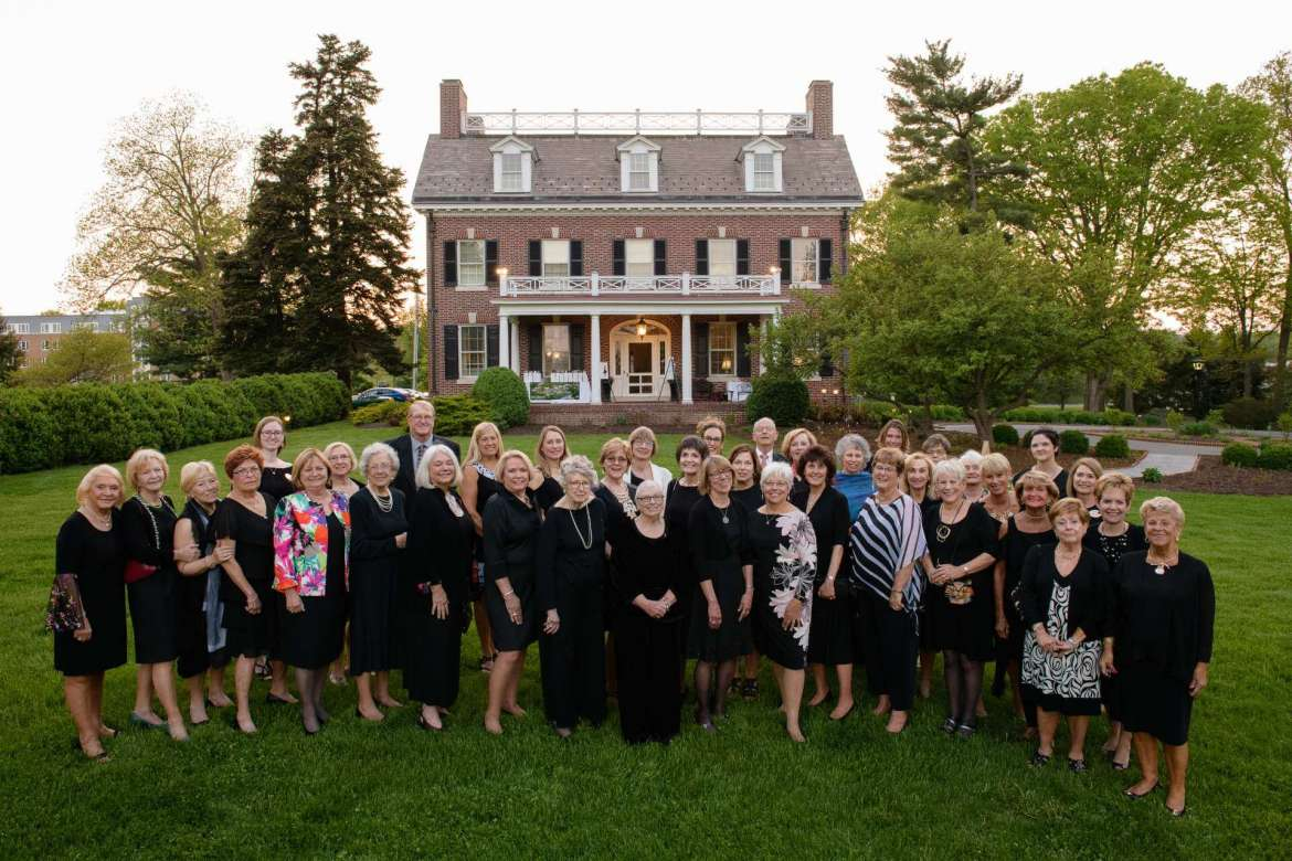 Alumnae, community members, faculty, and staff attended the Little Black Dress Party: Popping for Popodicon May 9 at the historic house on Shepherd's campus. The event raised more than $2,000 to support the Friends of Popodicon, a group dedicated to restoring and beautifying the house. (Photo courtesy of Sam Levitan Photography).