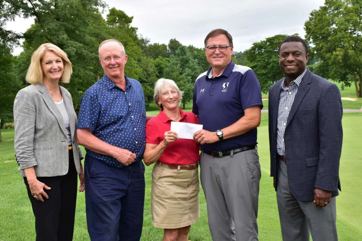 Pictured (l. to r.) are Monica Lingenfelter, executive vice president of the Shepherd University Foundation; Hank Walter; Dale Walter; Chuck Ingram Shepherd's golf coach; and Chauncey Winbush, vice president for athletics.