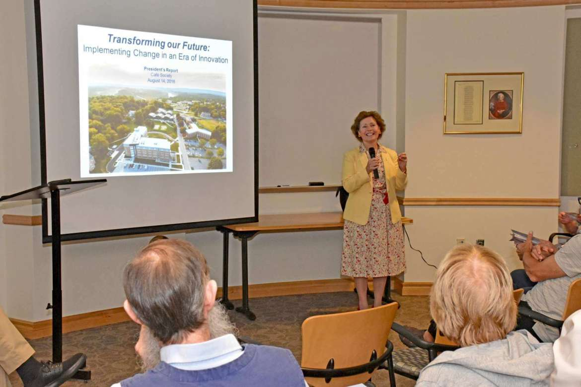Shepherd President Mary J.C. Hendrix made a presentation to the Café Society that highlighted the university's strategic plan.