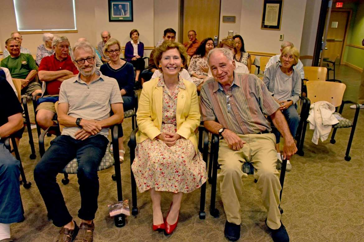 Shepherd President Mary J.C. Hendrix (front, center) made a presentation recently to the Café Society, a weekly discussion group that is part of the Lifelong Learning program.