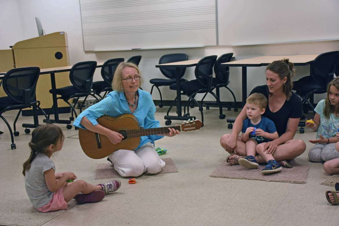 Frauke Higgins, who is celebrating her 15th year teaching at Shepherd, teaches an early childhood music class.
