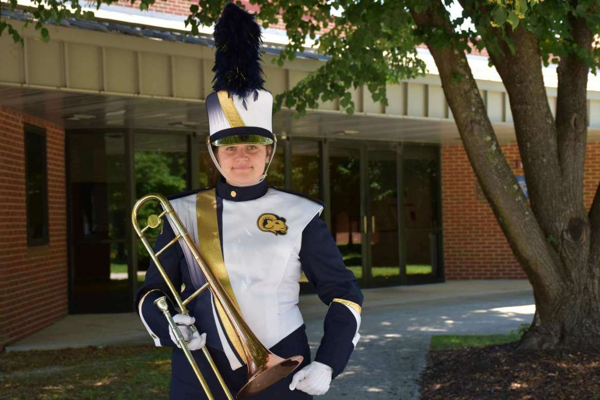 Arden Cline, a member of the Ram Band, models a new uniform purchased through a joint effort by the Shepherd University Alumni Association and the Foundation's Shepherd Success Fund. The uniforms will debut at the first home football game of the season on Saturday, September 15.