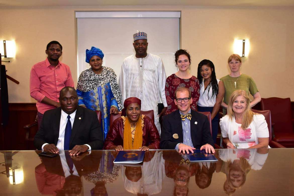 Pictured (seated, l.- to r.) are Siriki Diabate, Shepherd's international admissions officer; H.E. Prof. Hassana Alidou, Niger's ambassador to the U.S.; Dr. Scott Beard, Shepherd's provost; and Dr. Lois Jarman, Shepherd's director of international affairs. Back row, Gbaguidi Lamine, Shepherd graduate; Mariama Check Mohamed, Niger's finance attaché; Mahamane Bachir Fifi, Niger's first counselor; Maria Skowronski, Shepherd's director of intensive English language; Ekoa Kadio, intensive English language student; and Eva Olsson, intensive English language instructor.