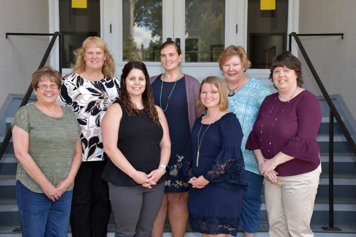 """Shepherd University's Department of Education received a $38,802 grant to create professional development schools at four Berkeley County schools. Those working on the project include (front row, l. to r.) Dr. Dori Hargrove, Shepherd assistant professor of education; Helen Baker, Shepherd lecturer/field placement coordinator; Amanda Billmyer, Potomack Intermediate principal; and Paula Hoffman, Berkeley County Schools academic coach. Back row, Dr. LeAnn Johnson, Shepherd assistant professor of education; Nicole Krause, Spring Mills Primary principal; and Sonia Knipe, Hedgesville Elementary principal. Not pictured are Paul """"Ty"""" Tyson, Tomahawk Intermediate principal, and Margaret Kursey, Berkeley County Schools deputy superintendent for curriculum and instruction."""