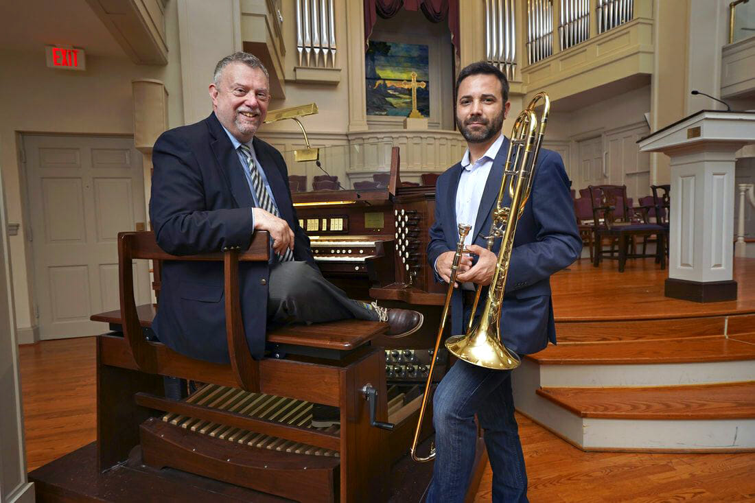 Pictured are trombonist James Martin and organist Daniel Miller.