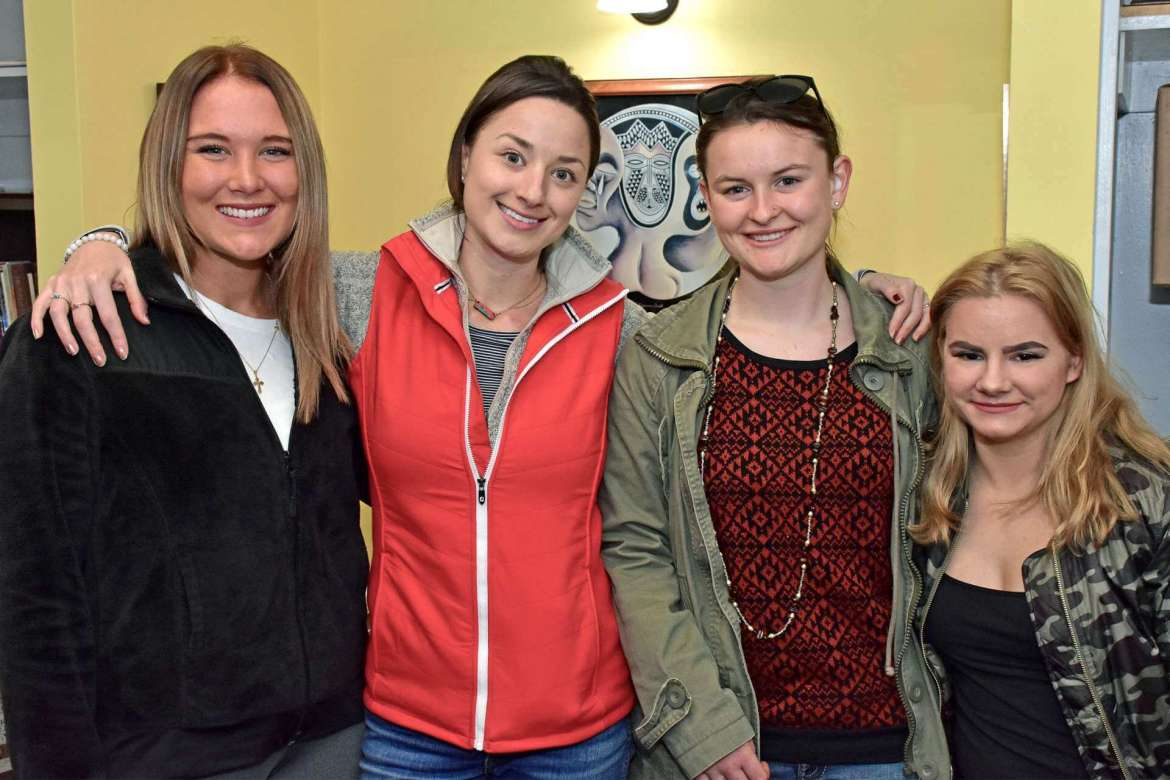 Pictured (l. to r.) are Tyler Barickman, communications major, Ripley; Megan Rynne, Master of Arts in curriculum and instruction student, Boston; Abigail Cleary, Biology major, Fairplay, Maryland; and Ally Wharton, English major, Charles Town.