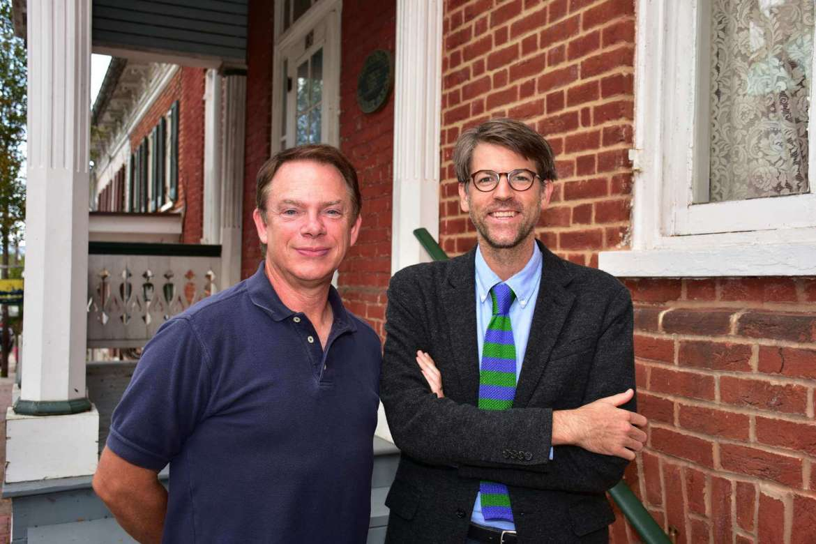 Pictured (l. to r.) are Dennis Frye, Shepherd alumnus and recently retired Harpers Ferry National Historical Park chief historian, and Dr. James Broomall, assistant professor of history and director of Shepherd's George Tyler Moore Center for the Study of the Civil War.