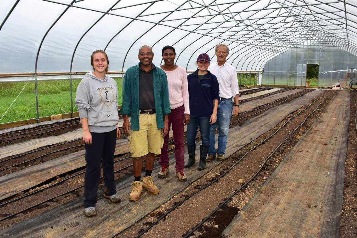 Pictured (l. to r.) are Carley Murray, environmental studies major, Lumberport; Haroun Hallack, Tabler farm manager; Guirlene Altidor, undeclared major, Berkeley Springs; Amanda Harmon, environmental geomatics major, Hedgesville; and Wayne Braunstein, Army veteran, Kearneysville.