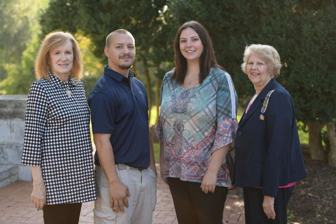 Pictured (l. to r.) are Patricia Toffling, Pack Horse Ford Chapter, NSDAR, vice regent; Willie Belmonte, a senior physical education major from Charles Town; Melissa Gantt, a senior secondary education major from Martinsburg; and Kathy Sholl, regent of Pack Horse Ford Chapter, NSDAR. Belmonte and Gantt are the 2018-2019 recipients of the chapter's scholarship in memory of Ruth Power Thacher. Photo by Sam Levitan