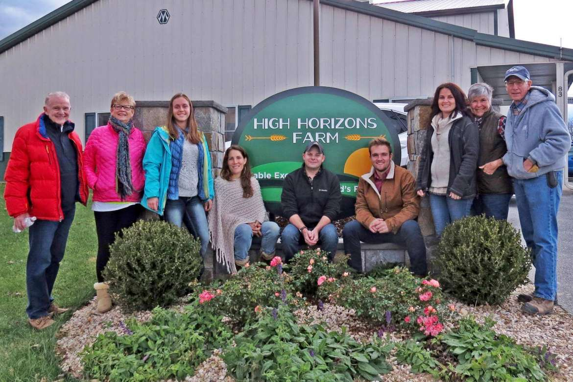 Pictured (l. to r. are Bob Hughes and Shepherd alumna Bev Hughes, dinner guests; Shepherd environmental studies majors Karlie Murray, Lumberport; Jennifer Willett, Boonsboro, Maryland; Trevor Maclosky, Bluemont, Virginia; Connor Feehan, Haymarket, Virginia; Amanda Harmon, Martinsburg; and Carol Kable and Marty Kable, dinner hosts and owners of High Horizons Farm.