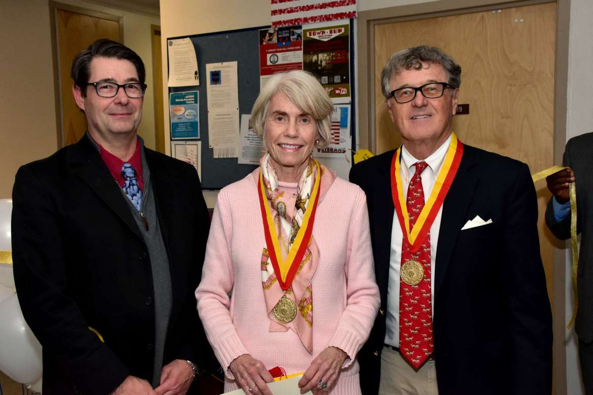 Pictured (l. to r.) are Dr. Aart Holtslag, co-chair, Department of Political Science and Global Studies; Tia McMillan, member, Shepherd Board of Governors; and Bob McMillan, former member and chair, Shepherd Board of Governors.