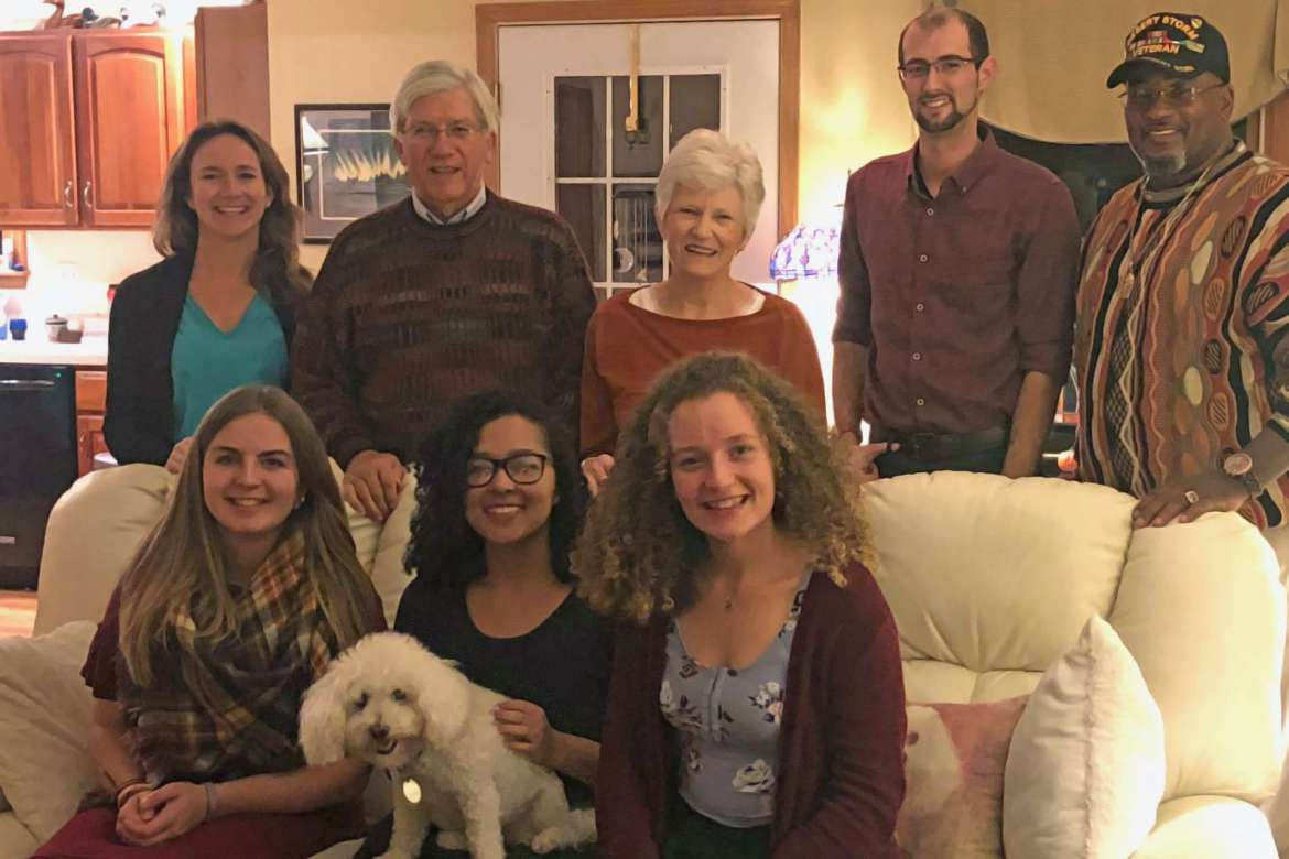 Pictured (seated, l. to r.) are Kara Herber, social work major, Hedgesville; Jennifer Forbes, psychology major, Purcellville, Virginia; and Lacey Emry, psychology major, Winchester, Virginia. Standing, Colleen Kradel, clinical social worker and therapist; Paul Kradel, psychologist and dinner host; Diane Kradel, retired teacher, former social worker, and dinner host; Matt Stevens, psychology major, Berkeley Springs; and Osmund Anderson, social work major, Inwood.