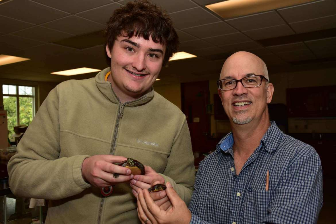 Pictured (l. to r.) are student researcher Rhett Quigley, a biology major from Martinsburg, and Dr. John Steffen, assistant professor of biology. Not pictured: Ian Whibley, a biology major from Berkeley Springs.