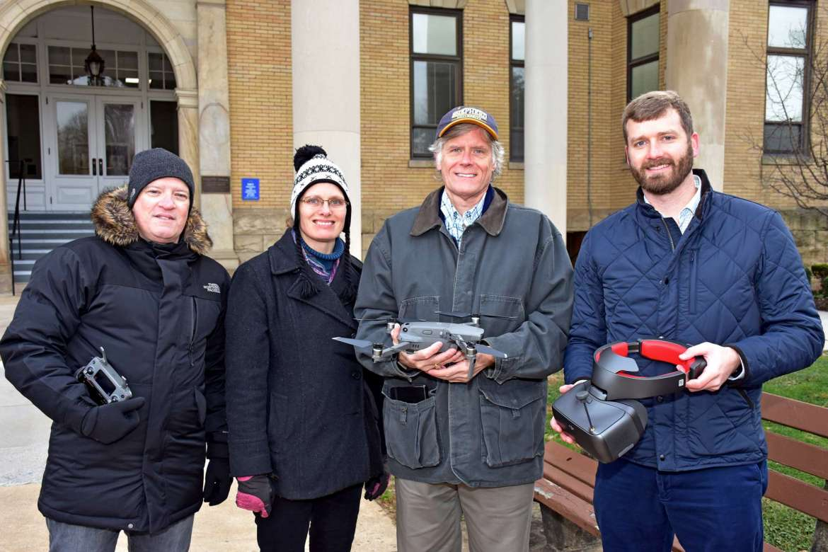 Pictured (l. to r.) are Steven Shaffer, lecturer of environmental studies; Dr. Sytil Murphy, associate professor of physics; Jim King, director of facilities; and Dustin Robbins, environmental health and safety coordinator.