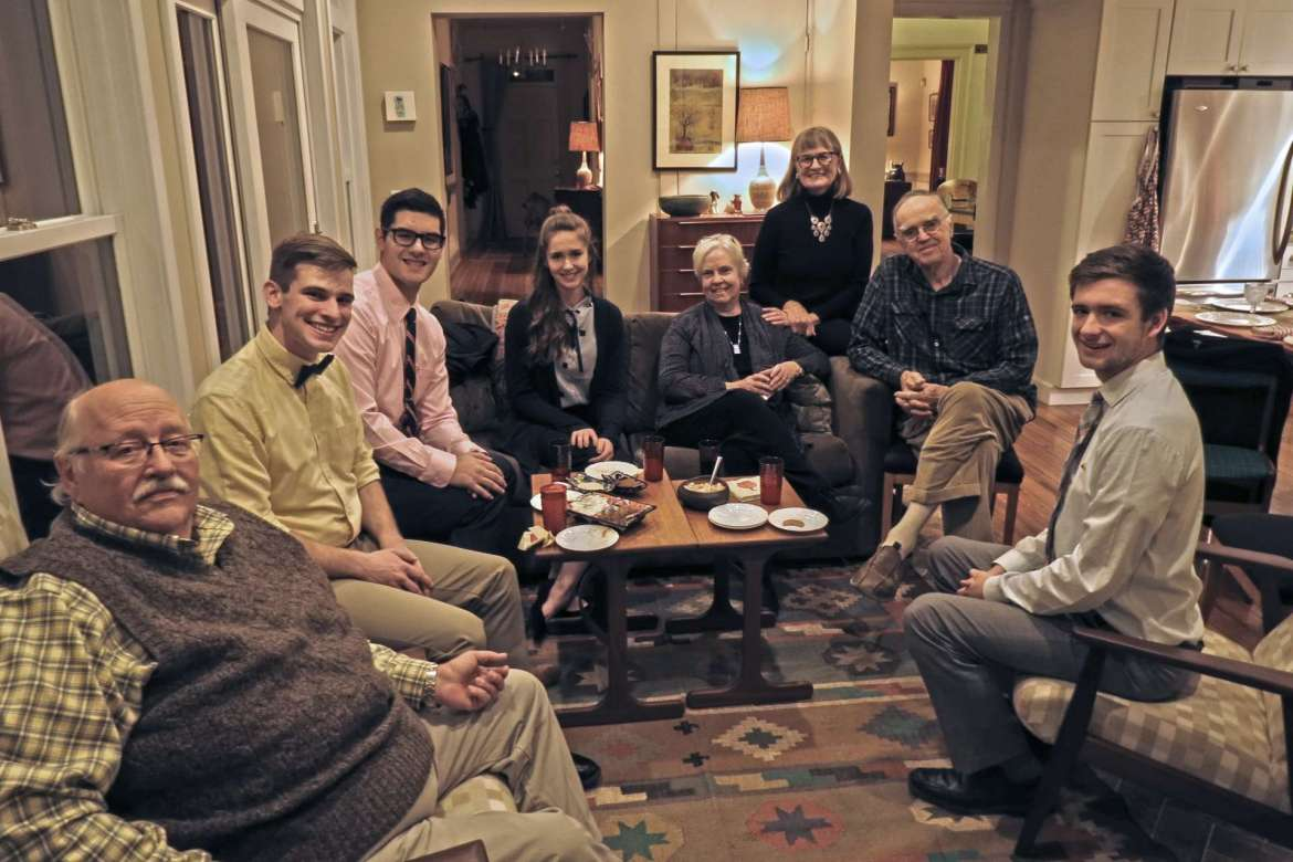 Pictured (l. to r.) are David Rampy, dinner guest; Matthew Gray, Magnolia, Delaware; John Wilkins, Frederick, Maryland; Shenandoah Sokol, Harpers Ferry; Leah Rampy, dinner guest; Marellen Aherne, dinner host; Charles Brown, dinner guest; and Chase Turner, New Windsor, Maryland.