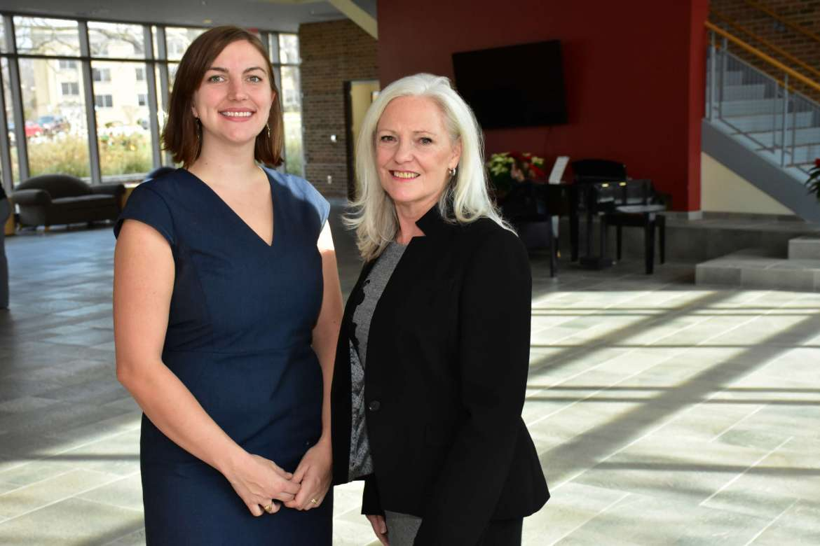 Karis Nolen (l.), a D.N.P. student and rural health policy intern from Frederick, Maryland, and Dr. Marcia Brand, who sponsors the internship program.
