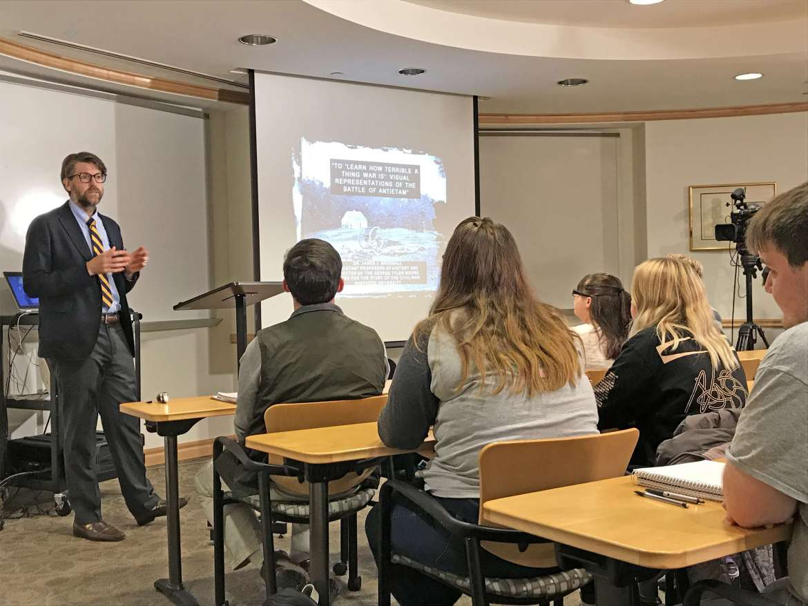 Dr. James Broomall, assistant professor of history and director of the George Tyler Moore Center for the Study of the Civil War, gave a lecture on the artist James Hope and the 1862 Battle of Antietam during the fall semester that will air on Lectures in History air on C-SPAN 3.