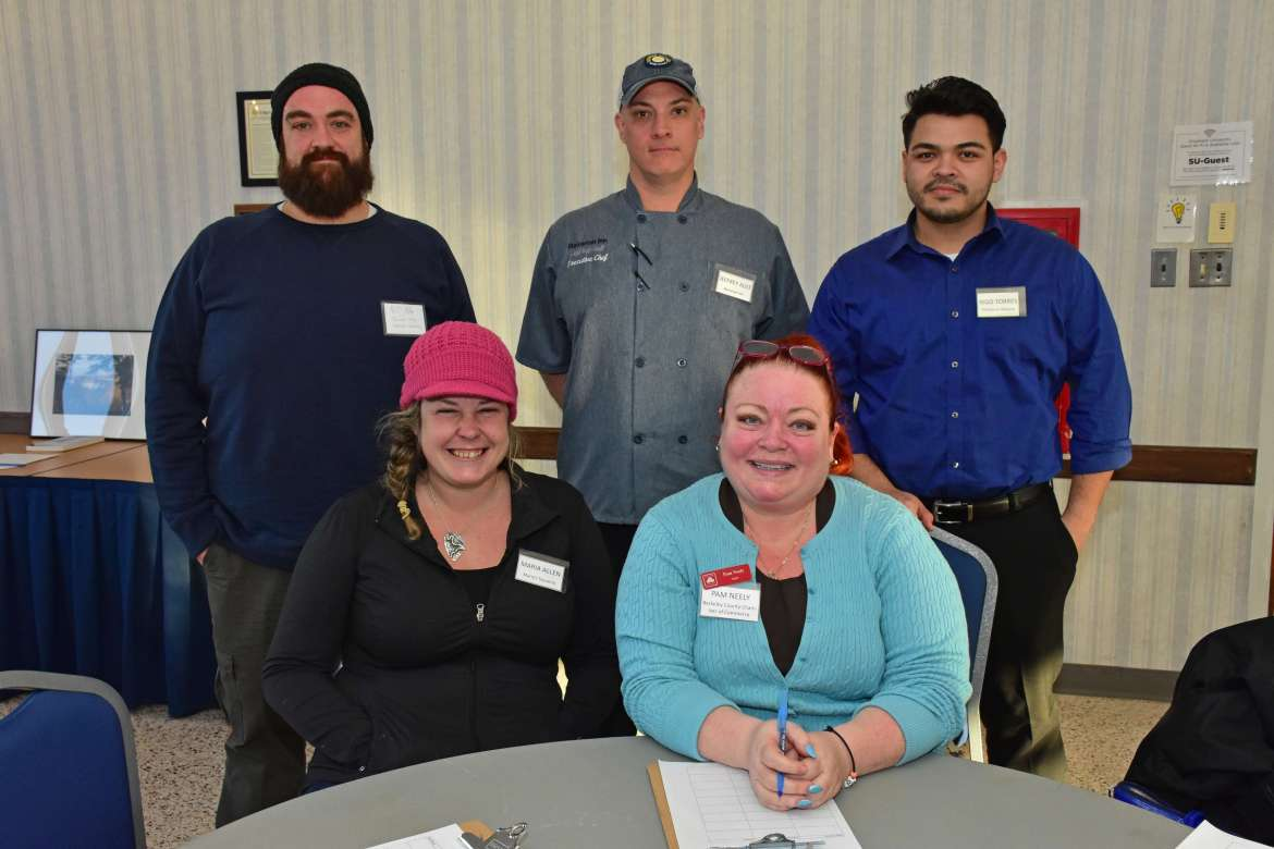 Judges for the cookoff were (seated, l. to r.) Maria Allen, Maria's Taqueria; and Pam Neely, Berkeley County Chamber of Commerce. Standing, DJ Hahn, chef, Shenandoah Valley Westminster Canterbury; Jeffrey Ault, chef, Bavarian Inn; and Rigo Torres, Hecho en Mexico.