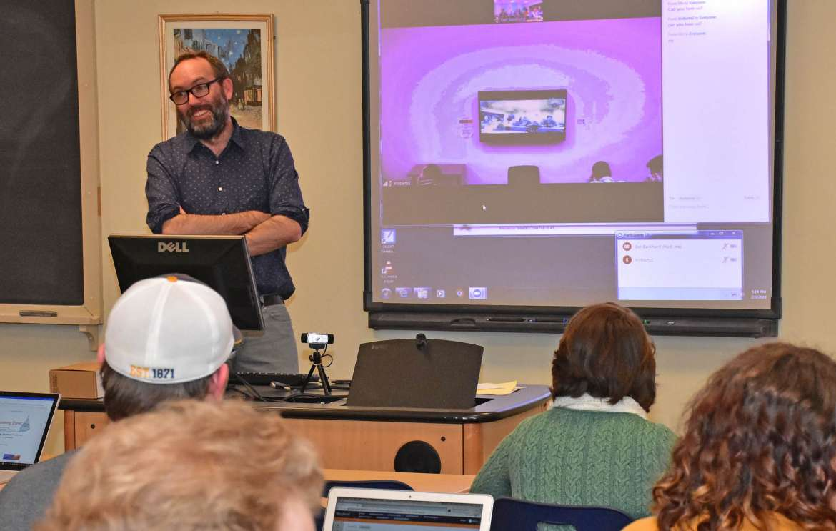 Students attend a recent American Revolution class jointly taught by Dr. Benjamin Bankhurst (above), Shepherd assistant professor of history, and Dr. Kyle Roberts of Loyola University Chicago.
