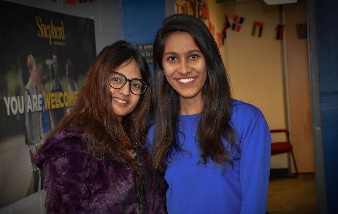 Amna Fareed (l.) and Maheen Chishti are spending the semester at Shepherd through the U.S. Department of State's Global Undergraduate Exchange Program in Pakistan.