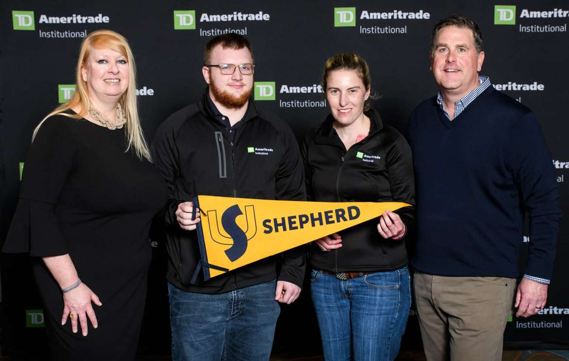 Pictured (l. to r.) are Kate Healy, managing director of TD Ameritrade's Generation Next Program; Will Ransom, a business and economics major from Shepherdstown; Heather Thompson, an accounting major from Martinsburg; and Tom Nally, TD Ameritrade Institutional president. (Photo credit: ©LILA PHOTO for TD Ameritrade Institutional)
