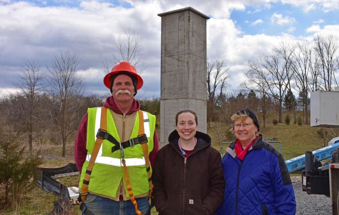 Pictured (l. to r.) are Jim Schmitt, Schmitt Construction Company; Katelyn Walters, PVAS conservation and land manager; and Suzanne Offutt, PVAS president.